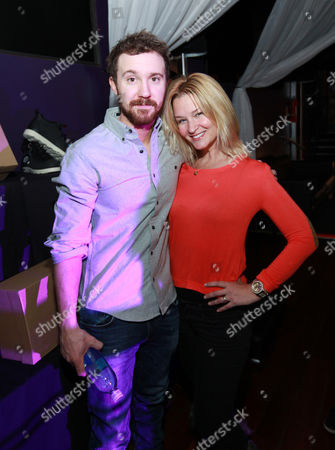 Sam Huntington, left, and Reagan Pasternak are seen at PCL Day Lounge Day 3 on in Park City, Utah