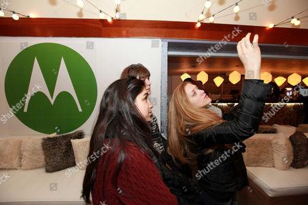 Augustine Frizzell, right, is seen at PCL Day Lounge Day 3 on in Park City, Utah