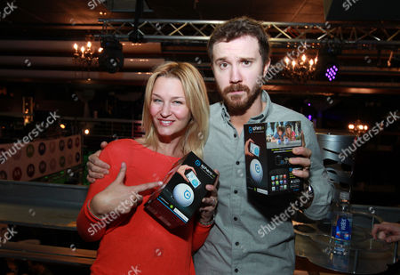 Reagan Pasternak, left, and Sam Huntington are seen at PCL Day Lounge Day 3 on in Park City, Utah