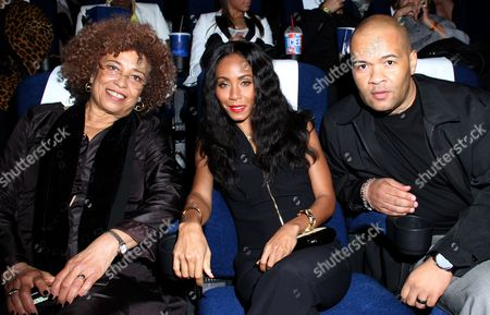 L-R) Angela Davis, Jada Pinkett Smith and Jeff Clanagan attend Los Angeles Premiere of ???Free Angela and All Political Prisoners??? at Pan African Film Festival at Rave Cinemas Baldwin Hills on in Los Angeles, California