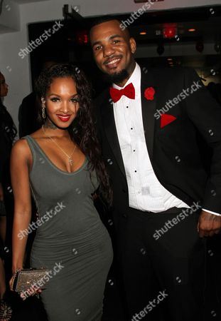 Recording artists LoLa Monroe and Jayceon Taylor seen at the Private Black Friday Birthday Dinner for The Game at Philippe on in Beverly Hills, California