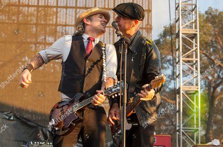 Bob Schmidt and Dennis Casey of Flogging Molly seen at Riot Fest & Carnival in Douglas Park on in Chicago