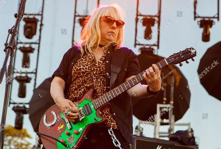 Stock Photo of Suzi Gardner of L7 seen at Riot Fest & Carnival in Douglas Park on in Chicago