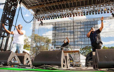 "Kelvin Mercer Posdnuos, Vincent Mason ""Maseo"" and David Jude Jolicoeur Dave of De La Soul seen at Riot Fest & Carnival in Douglas Park on in Chicago"