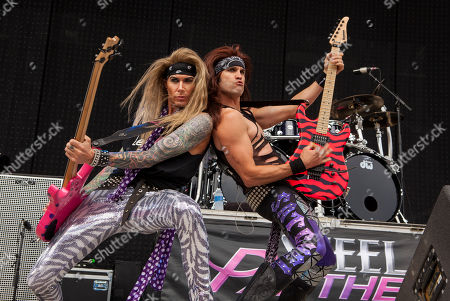 Lexxi Foxxx and Satchel of Steel Panther perform at Rock on the Range on in Columbus, Ohio