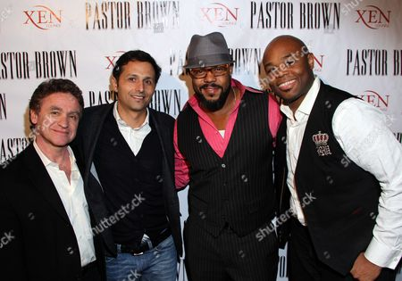 Stock Photo of L-R) Mangers Norman Aladjem, Ray Moheet director Rockmond Dunbar and composer Marvin Winans Jr. at Rockmond Dunbar's Directorial Debut Screening of Pastor Brown at Xen Lounge, in Studio City, California