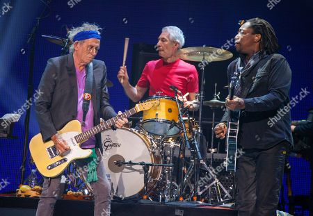 Keith Richards, Charlie Watts and Darryl Jones of the Rolling Stones performs at the United Center on in Chicago