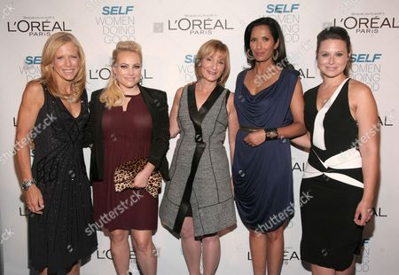 From left, Lucy Danziger, Meghan McCain, Laura McEwen, Padma Lakshmi and Katie Lowes attend SELF Magazine's Women Doing Good Awards on in New York