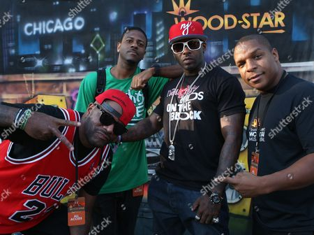"""L-R )Radio personality Ed Lover, DJ Kay Gee, Treach and Vin Roc of Naughty by Nature backstage at Shannon Brown's Wood-Star Music Festival """"Hip Hop Block Party"""" on Sunday August, 19, 2012, at Union Park in Chicago, Illinois"""