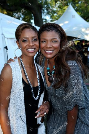 """Rapper Mc Lyte and R&B singer Syleena Johnson backstage at Shannon Brown's Wood-Star Music Festival """"Hip Hop Block Party"""" on Sunday August, 19, 2012, at Union Park in Chicago, Illinois"""