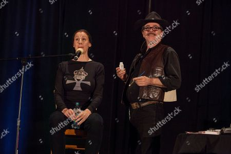 Actor Suzie Plakson and make-up artist John Paladin during the Creation Entertainment's Official Star Trek Convention at The Westin O'Hare, on in Rosemont, IL