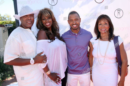 """Freda Payne, Terrence Jenkins, Lady Mahasin and a guest, from right to left, arrive at Robi Reed's 10th Annual """"Sunshine Beyond Summer"""" Celebration - The Day Party with a Purpose at the Getty House, in Los Angeles"""
