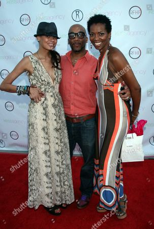 """L-R) Keisha Whitaker, Rahsaan Patterson and Vanessa A. Williams arrive at Robi Reed's 10th Annual """"Sunshine Beyond Summer"""" Celebration - The Day Party with a Purpose at the Getty House, in Los Angeles"""