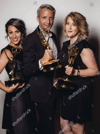 Stock Picture of Kristen Comings, Steven Walberg, Stefanie Mohr poses for a portrait at the Television Academy's 67th Emmy Awards Performers Nominee Reception at the Pacific Design Center on in West Hollywood, Calif