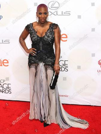 Liv Warfield arrives at the 46th NAACP Image Awards at the Pasadena Civic Auditorium, in Pasadena, Calif