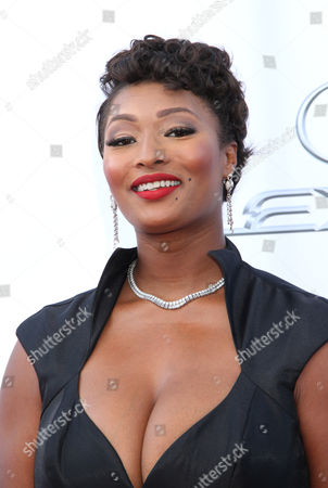 Toccara Jones arrives at the 46th NAACP Image Awards at the Pasadena Civic Auditorium, in Pasadena, Calif