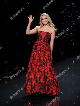 Actress Anna Sophia Robb models an outfit from the 2014 Red Dress Collection on in New York