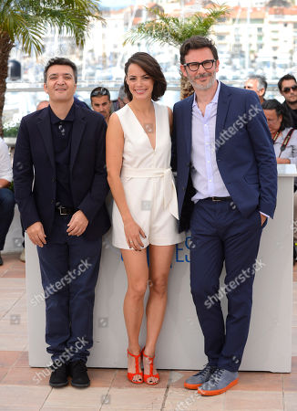 Thomas Langmann, Berenice Bejo and Michel Hazanavicius during a photo call for The Search at the 67th international film festival, Cannes, southern France