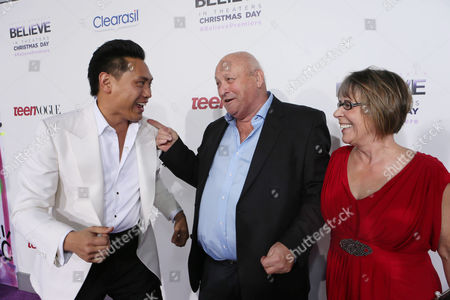 "Prodcuer/director/writer Jon M. Chu, Bruce Dale and Diane Dale seen at the World Premiere of Open Road's ""Justin Bieber's Believe"" presented by Teen Vogue and sponsored by Clearasil, on in Los Angeles"
