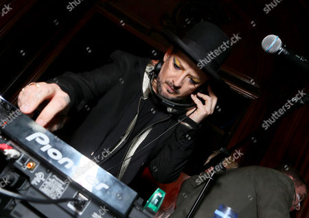 DJ Zen Freeman Icon Boy George spins at Treats! Halloween with Absolut Elyx in partnership with Utsinger Entertainment at the Los Angeles Theatre on in Los Angeles, Calif
