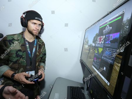 Keegan Allen playing Watch Dogs 2 at Ubisoft E3 2016 - Day 2 at the Los Angeles Convention Center, in Los Angeles