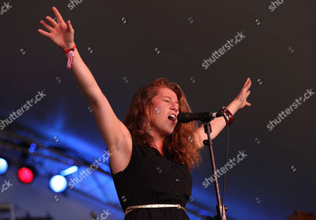 Elizabeth Hopkins of Delta Rae perform at the Voodoo Experience, in New Orleanse
