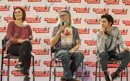 Anastasia Baranova, Russell Hodgkinson and Nat Zang appear at the Walker Stalker convention during the Z Nation panel, at the Donald E. Stephens Center in Rosemont, IL