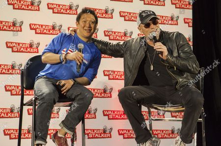 Ming Chen and Michael Rooker appear at the Walker Stalker convention during the Merle panel, at the Donald E. Stephens Center in Rosemont, IL