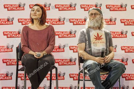 Anastasia Baranova and Russell Hodgkinson appear at the Walker Stalker convention during the Z Nation panel, at the Donald E. Stephens Center in Rosemont, IL