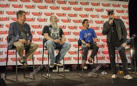 Mike Zapcic, Bryan Johnson, Ming Chen and Michael Rooker appear at the Walker Stalker convention during the Merle panel, at the Donald E. Stephens Center in Rosemont, IL