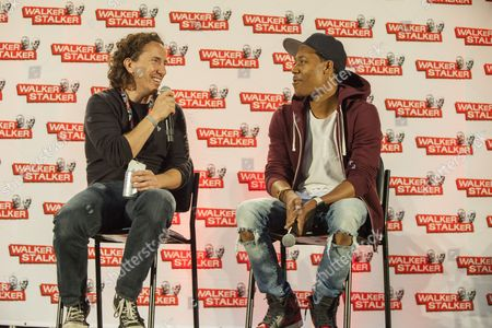 Michael Traynor and Tyler James Williams appear at the Walker Stalker convention during the Revolving Door Bros. panel, at the Donald E. Stephens Center in Rosemont, IL