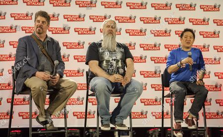 Mike Zapcic, Bryan Johnson and Ming Chen appear at the Walker Stalker convention during the Merle panel, at the Donald E. Stephens Center in Rosemont, IL