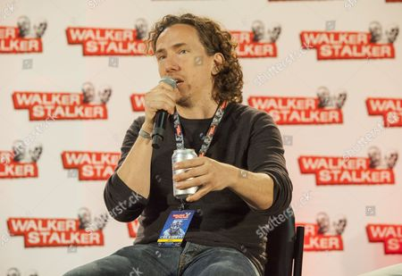 Michael Traynor appears at the Walker Stalker convention during the Revolving Door Bros. panel, at the Donald E. Stephens Center in Rosemont, IL