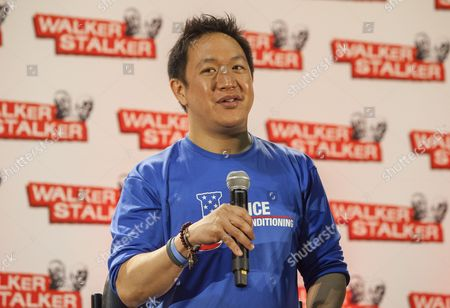 Ming Chen appears at the Walker Stalker convention during the Merle panel, at the Donald E. Stephens Center in Rosemont, IL