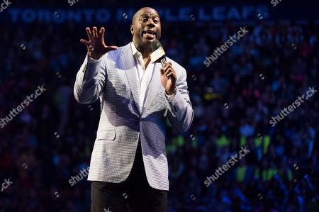 "Earvin ""Magic"" Johnson speaks at We Day, in Toronto"