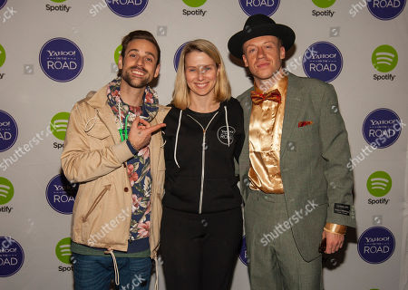 Ryan Lewis, Yahoo CEO Marissa Meyer and Macklemore pose for a photo at the Yahoo! On the Road Concert Series at Turner Hall, Sunday, May, 12, 2013 in Milwaukee