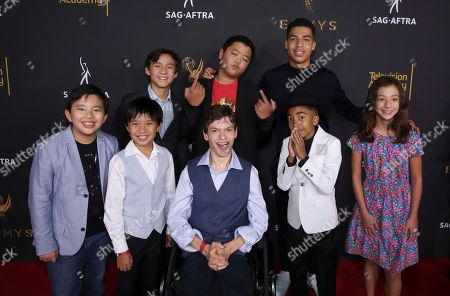 Albert Tsai, Ian Chen, Micah Fowler, Miles Brown, Aubrey Anderson-Emmons, Forrest Wheeler, Hudson Yang, Marcus Scribner. Albert Tsai, from front left, Ian Chen, Micah Fowler, Miles Brown, and Aubrey Anderson-Emmons, and from back left, Forrest Wheeler, Hudson Yang, and Marcus Scribner attend the 2017 Dynamic and Diverse Emmy Nominee Reception presented by the Television Academy, at the Saban Media Center in North Hollywood, Calif