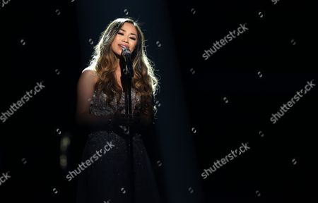 """Jessica Sanchez performs at the """"American Idol"""" farewell season finale at the Dolby Theatre, in Los Angeles"""