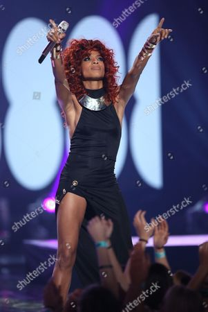 "Tamyra Gray performs at the ""American Idol"" farewell season finale at the Dolby Theatre, in Los Angeles"