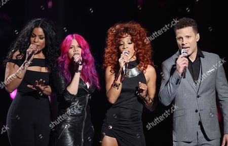 "Stock Photo of Jordin Sparks, from left, Allison Iraheta, Tamyra Gray, Justin Guarini perfom at the ""American Idol"" farewell season finale at the Dolby Theatre, in Los Angeles"
