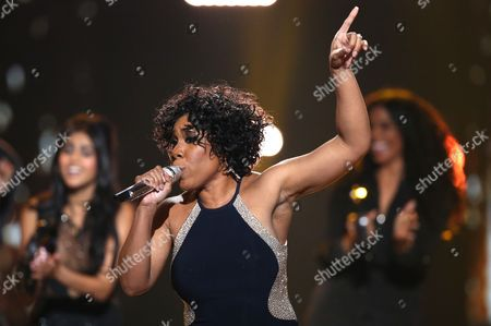 """Stock Image of Melinda Doolittle performs at the """"American Idol"""" farewell season finale at the Dolby Theatre, in Los Angeles"""
