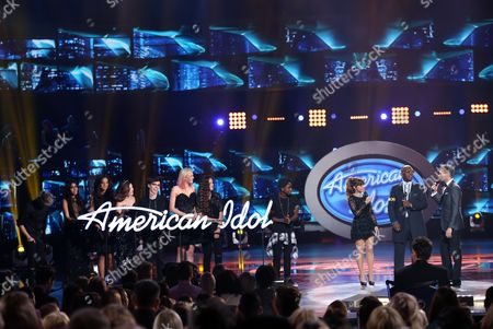 """Dalton Rapattoni, from left, Sonika Vaid, Avalon Young, Mackenzie Bourg, Olivia Rox, Gianna Isabella, Lee Jean, Paula Abdul, Randy Jackson, and Ryan Seacrest appear at the """"American Idol"""" farewell season finale at the Dolby Theatre, in Los Angeles"""