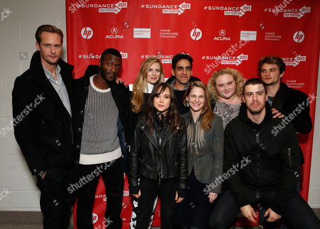 "From left, actors Alexander Skarsgard, Aldis Hodge, Brit Marling, Elliot Page, director Zal Batmanglij, actors Hillary Baack, Danielle Macdonald, Toby Kebbell and Shiloh Fernandez attend Fox Searchlight's ""The East"" premiere during the Sundance Film Festival on Sunday, Jan. 20, in Park City, Utah"