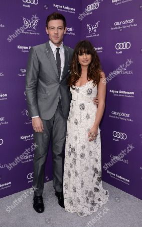 Actress Lea Michele, right, and actor Cory Monteith arrive at the 12th Annual Chrysalis Butterfly Ball on in Los Angeles