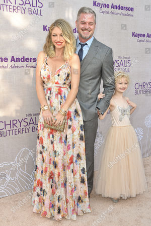 Rebecca Gayheart-Dane, from left, Eric Dane and Billie Beatrice Dane arrive at the 14th Annual Chrysalis Butterfly Ball held at the residence of Susan Harris and Hayward Kaiser, in Los Angeles