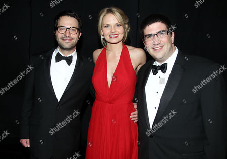 Edward Kitsis, Jennifer Morrison and Adam Horowitz, left to right, pose backstage at the 2012 Creative Arts Emmys at the Nokia Theatre, in Los Angeles