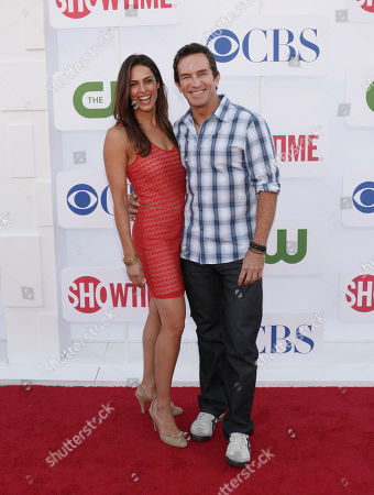 Lisa Ann Russell and Jeff Probst attend the CBS, Showtime and The CW 2012 TCA summer tour party at 9900 Wilshire Blvd on in Beverly Hills, California