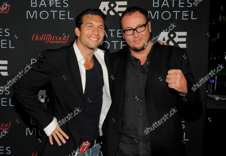 """From left, actor Marcus Shirock and director Nick Lyon arrive at the """"The Bates Motel Party"""" presented by A&E and the Hollywood Reporter on Day 4 of Comic-Con International, in San Diego"""