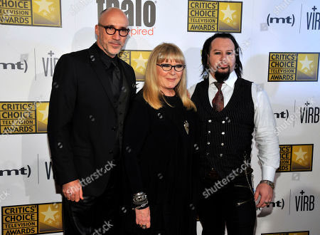 """Neville Page, from left, Ve Neill and Glenn Hetrick, judges on the special effects make-up competition series """"Face Off,"""" arrive at the Critics' Choice Television Awards in the Beverly Hilton Hotel, in Beverly Hills, Calif"""