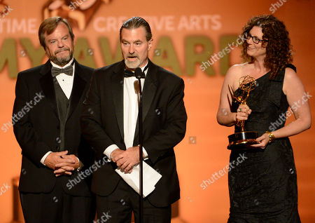 Representatives of Nickelodeon accept the award for Outstanding Children's Program for Nick News with Linda Ellerbee onstage at the 2013 Primetime Creative Arts Emmy Awards, on at Nokia Theatre L.A. Live, in Los Angeles, Calif